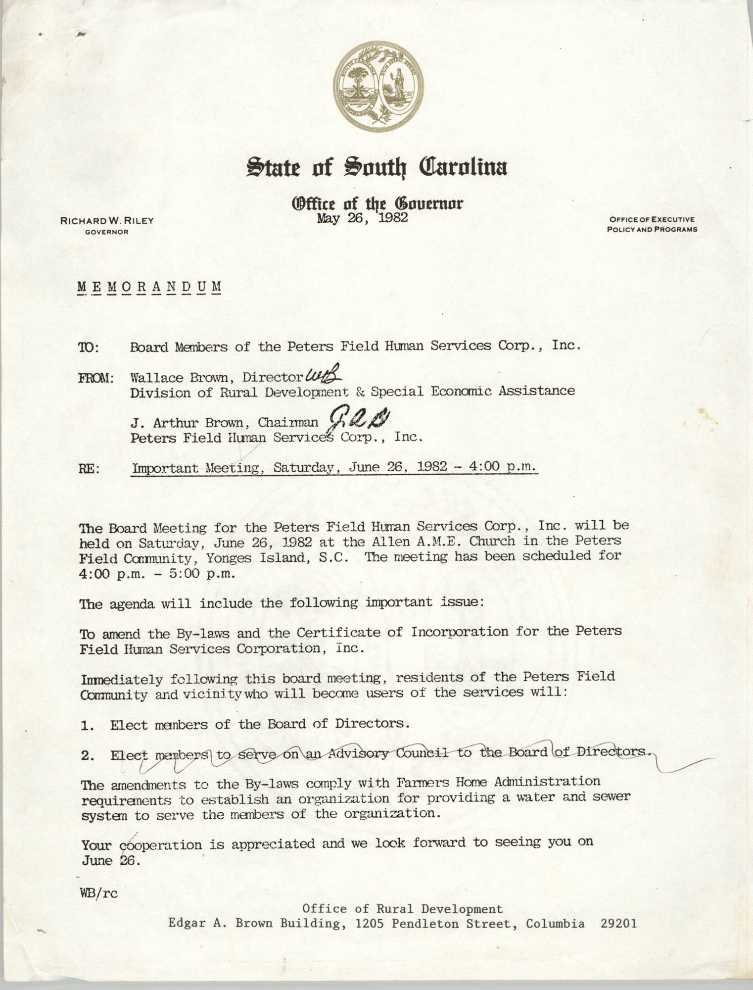 State of South Carolina, Office of the Governor, Memorandum, May 26, 1982