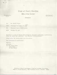 State of South Carolina, Office of the Governor, Memorandum, December 14, 1981