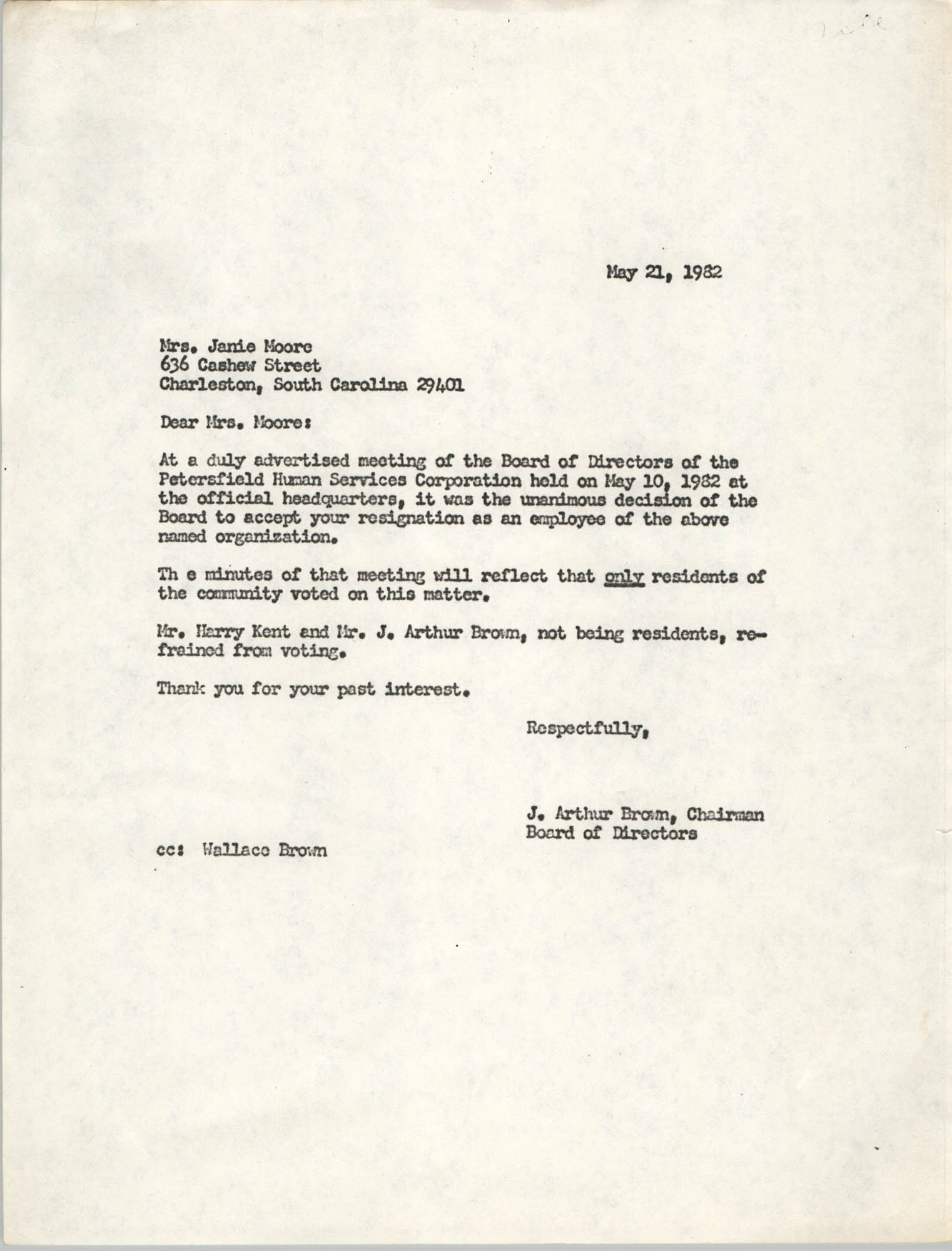 Letter from J. Arthur Brown to Janie Moore, May 21, 1982
