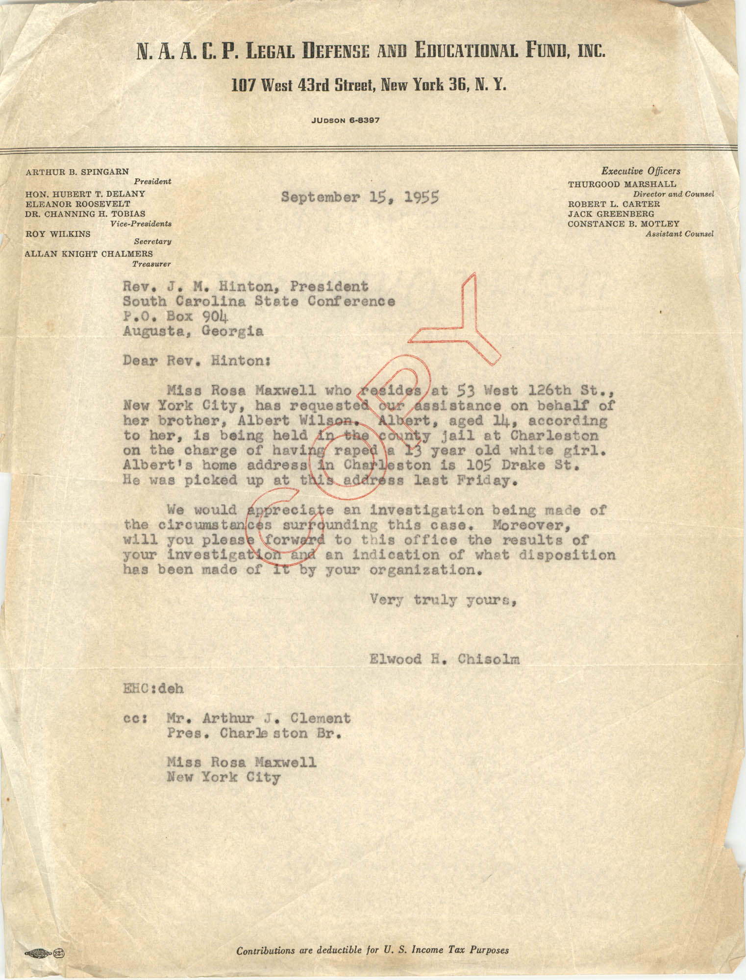 Letter from Elwood H. Chisolm to J. M. Hinton, September 15, 1955