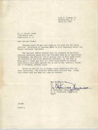 Letter from I. DeQuincey Newman to J. Arthur Brown, April 13, 1959