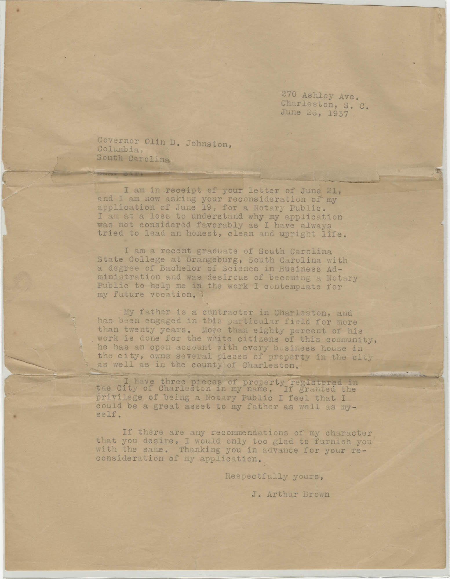 Letter from J. Arthur Brown to Olin D. Johnston, June 26, 1937