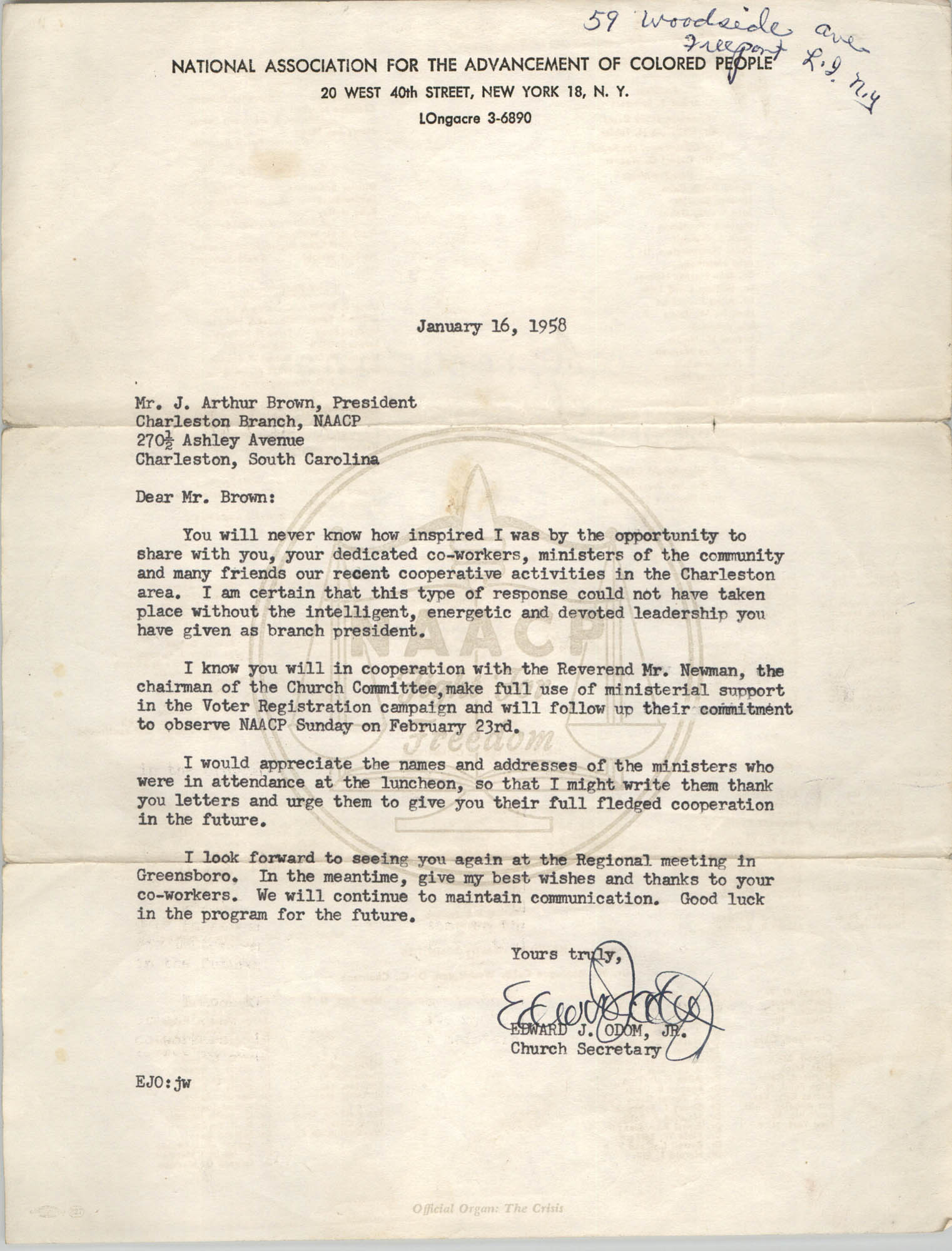 NAACP Memorandum, January 16, 1958