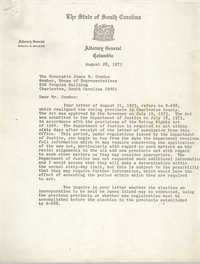 Letter from Daniel R. McLeod to James M. Condon, August 28, 1973