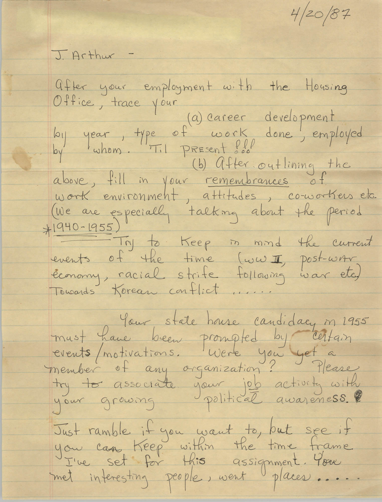 Letter from Millicent Brown to J. Arthur Brown, April 20, 1987