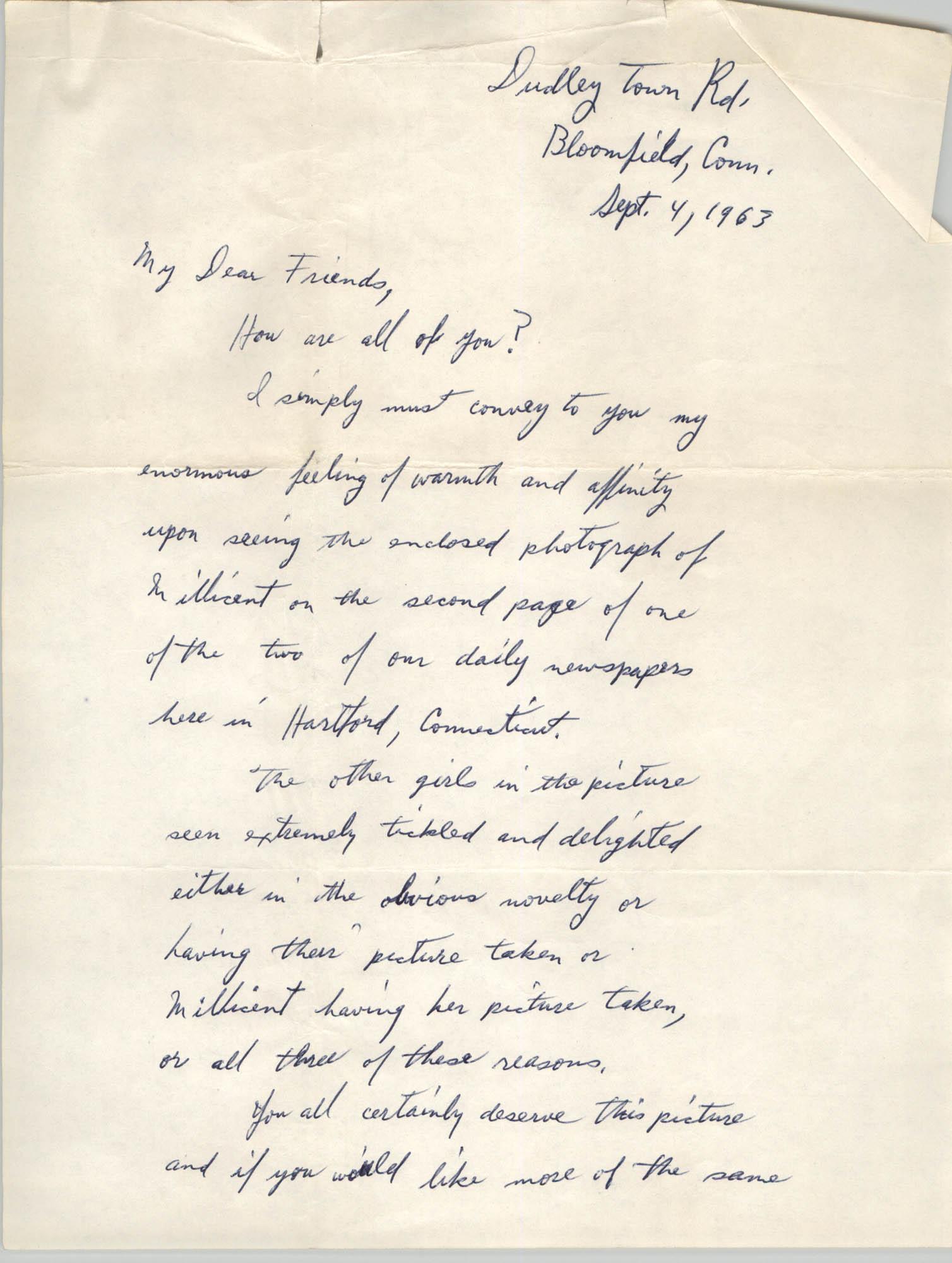 Letter from Leonard King, September 4, 1963