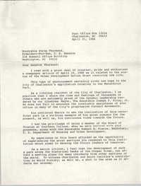 Letter from J. Arthur Brown to Strom Thurmond, April 21, 1986