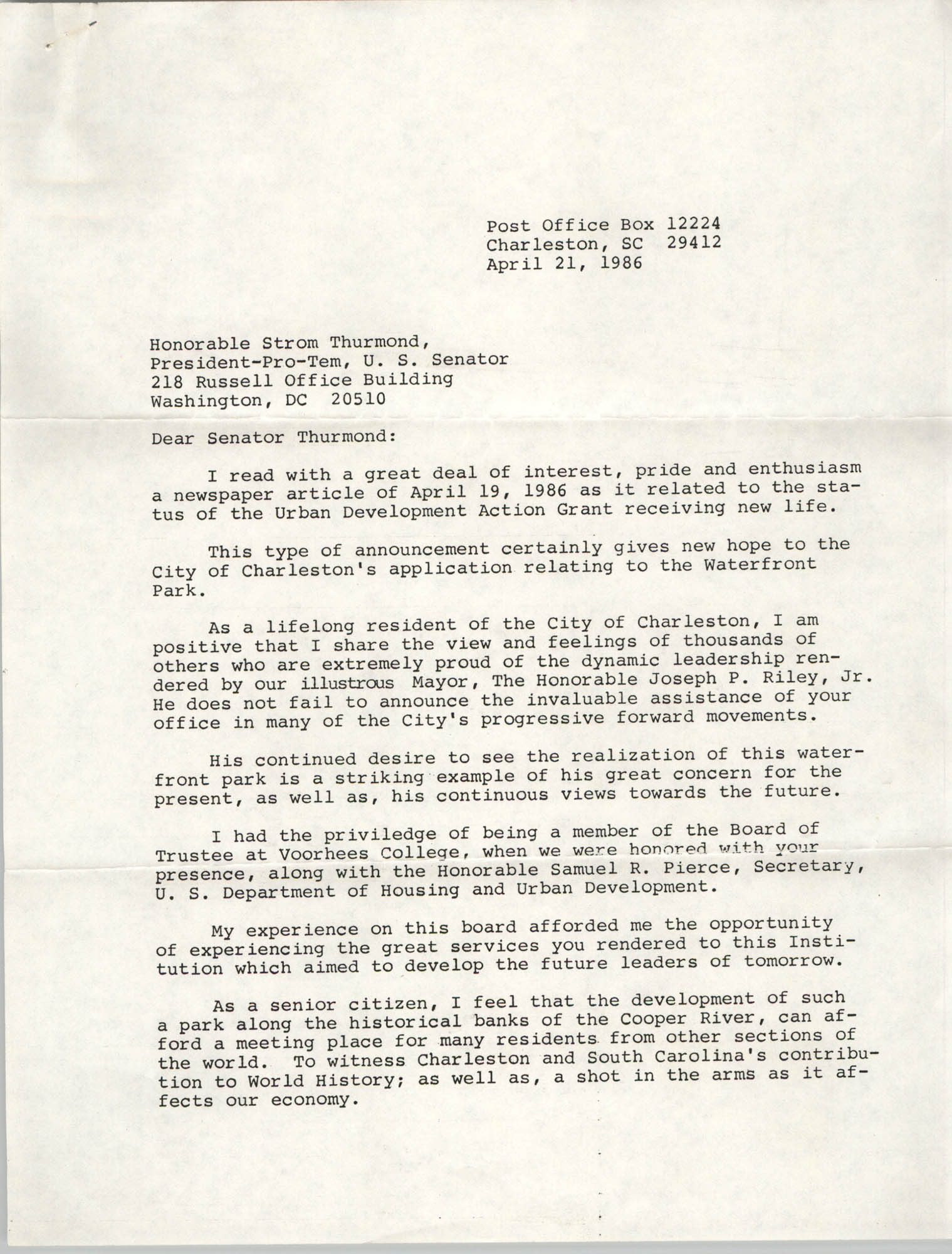 Letter from J. Arthur Brown to Strom Thurmond, April 21, 1986