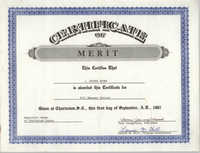 Democratic Women of Charleston County Award of Merit Certificate for J. Arthur Brown