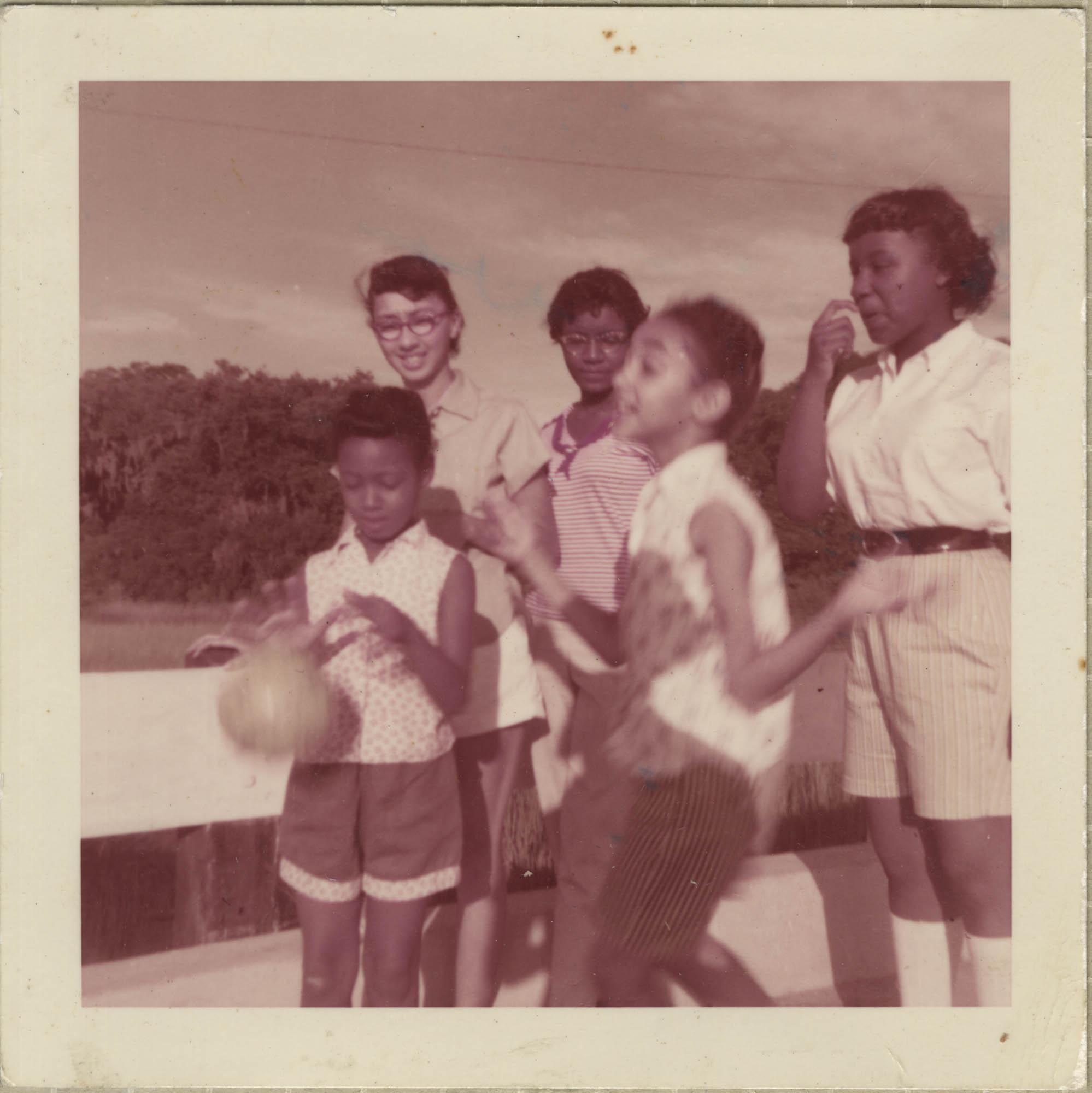 Photograph of Maede Joenelle Brown, Linda Kershaw, Millicent Brown, Barbara Bryant, and Mamie Bryant