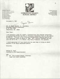 Letter from William B. Todd to J. Arthur Brown, November 4, 1987