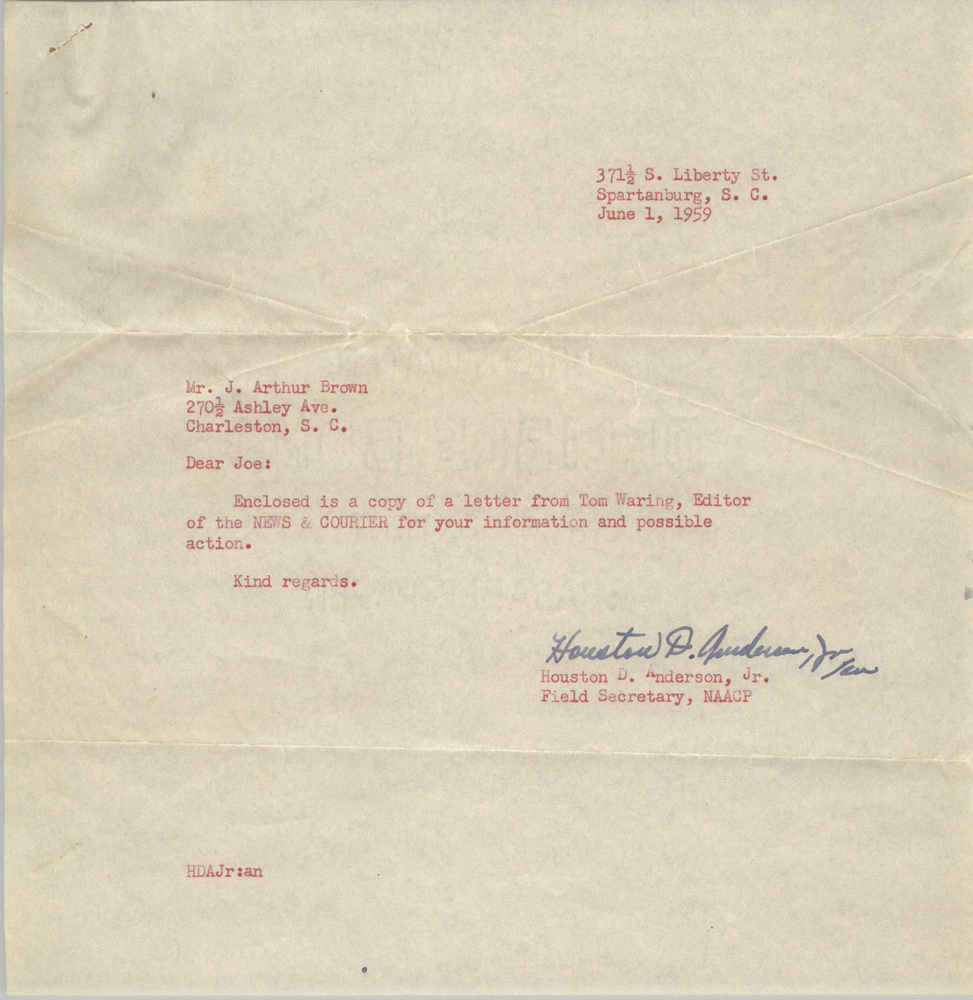 Letter from Houston D. Anderson, Jr. to J. Arthur Brown, June 1, 1959