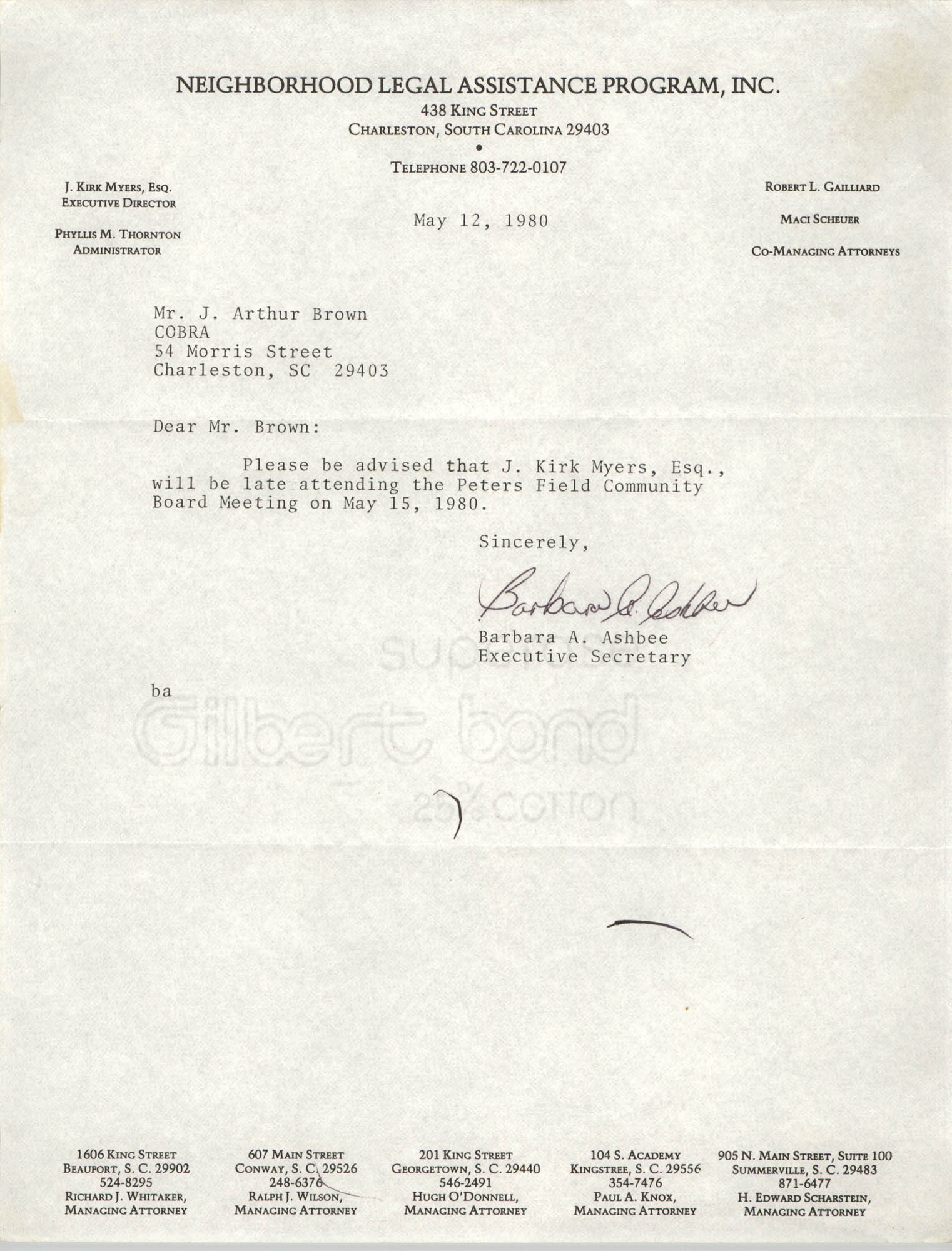 Letter from Barbara A. Ashbee to J. Arthur Brown, May 12, 1980