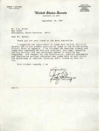 Letter from Ernest F. Hollings to J. Arthur Brown, September 18, 1987