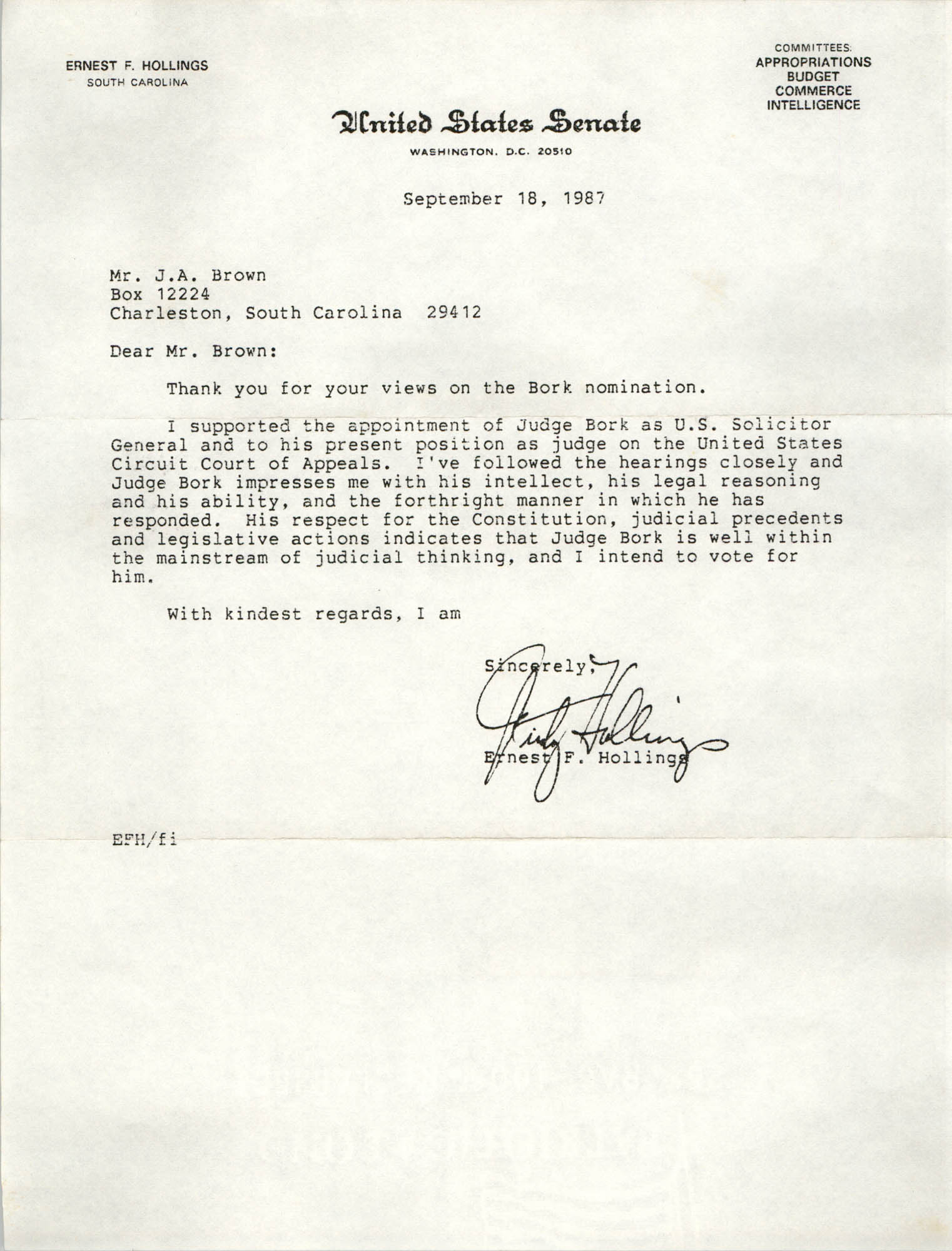 Letter from Ernest F. Hollings to J. Arthur Brown, September 18, 1987