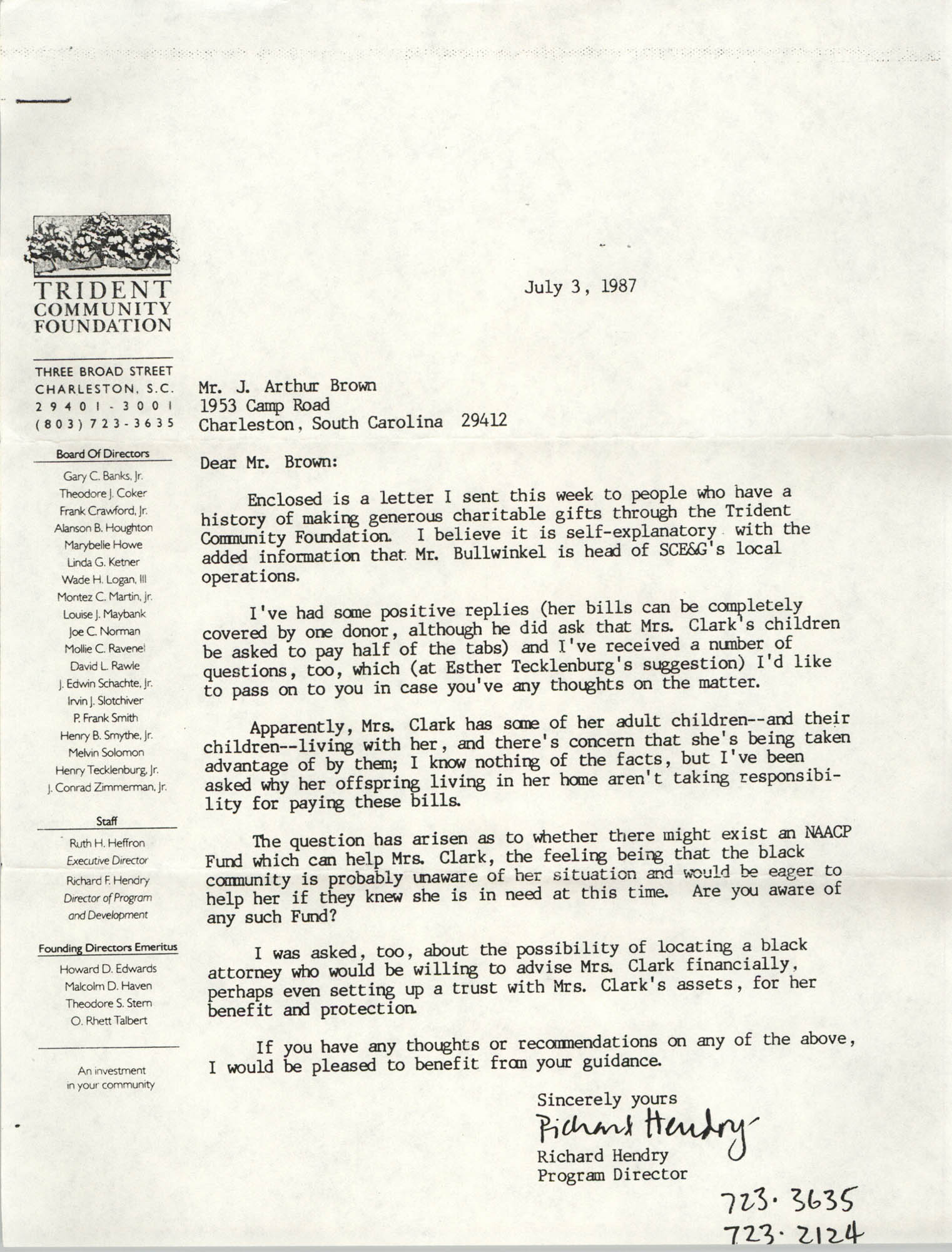 Letter from Richard Hendry to J. Arthur Brown, July 3, 1987