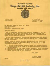 Letter from J. Arthur Brown to Joseph P. Riley, Jr., February 5, 1988