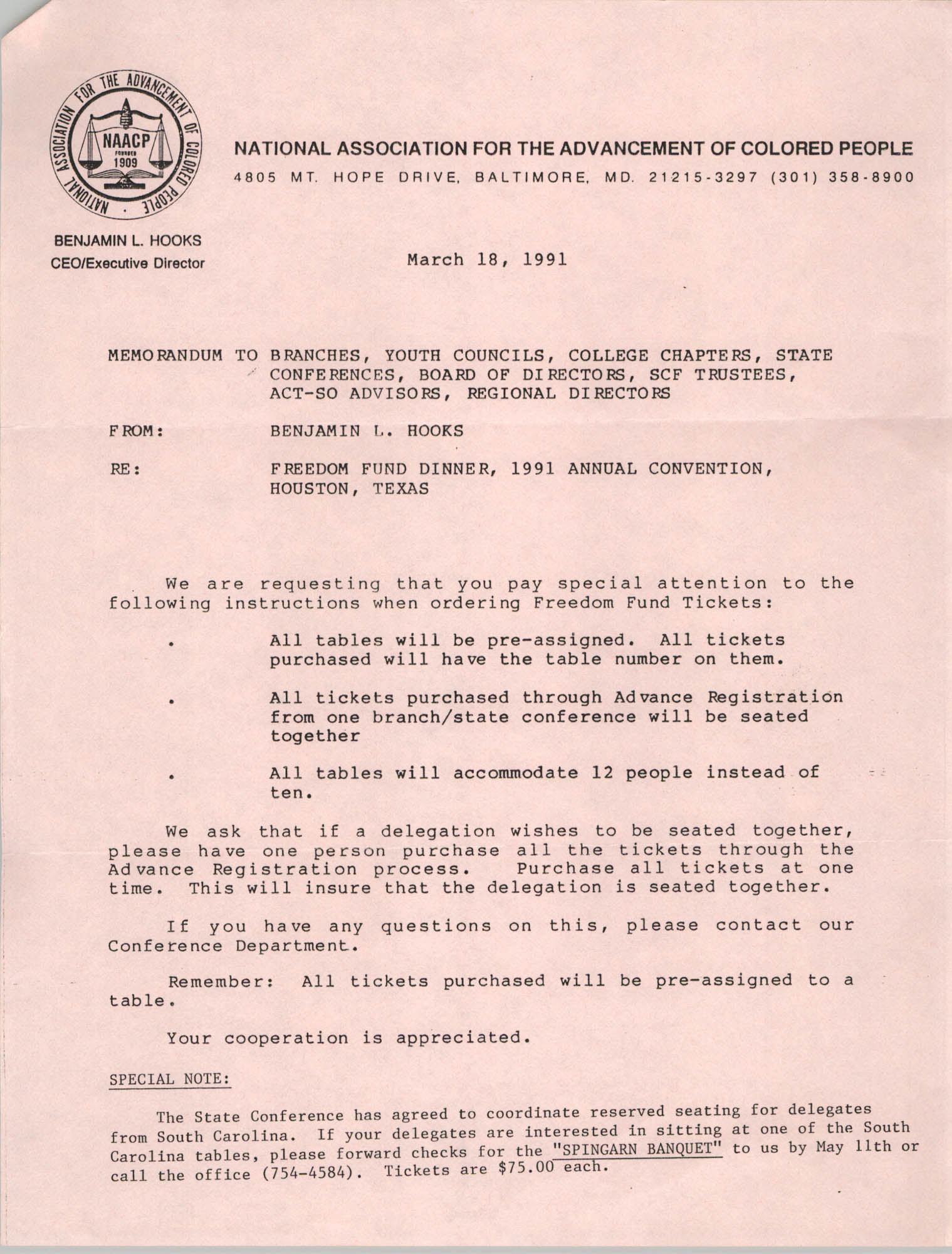 NAACP Memorandum, March 18, 1991