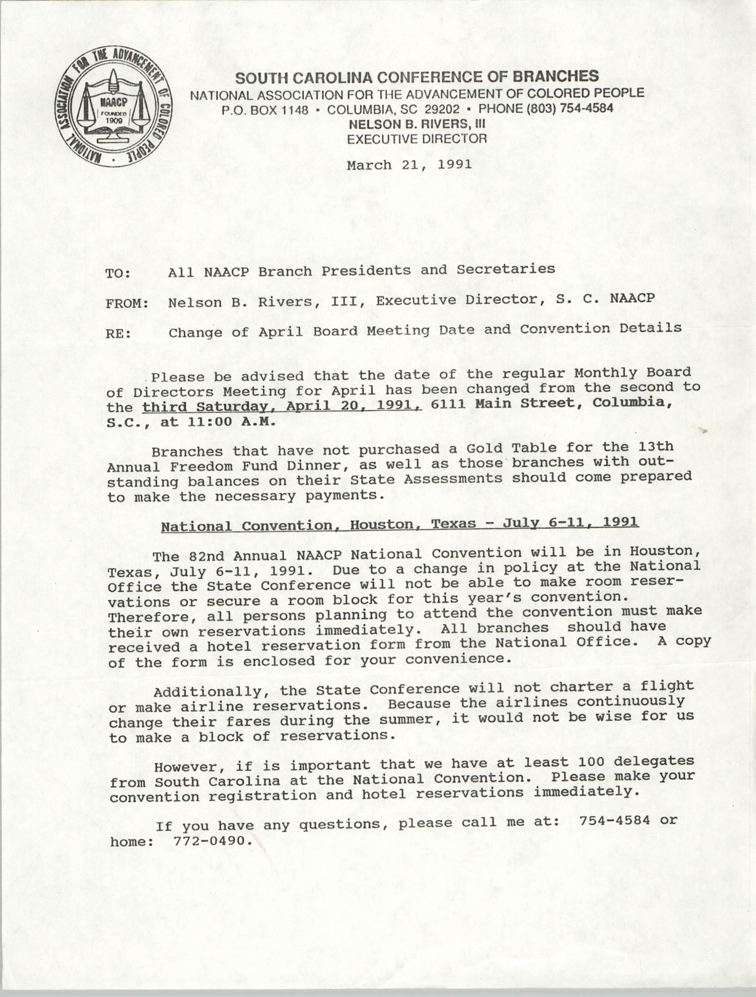 South Carolina Conference of Branches of the NAACP Memorandum, March 21, 1991