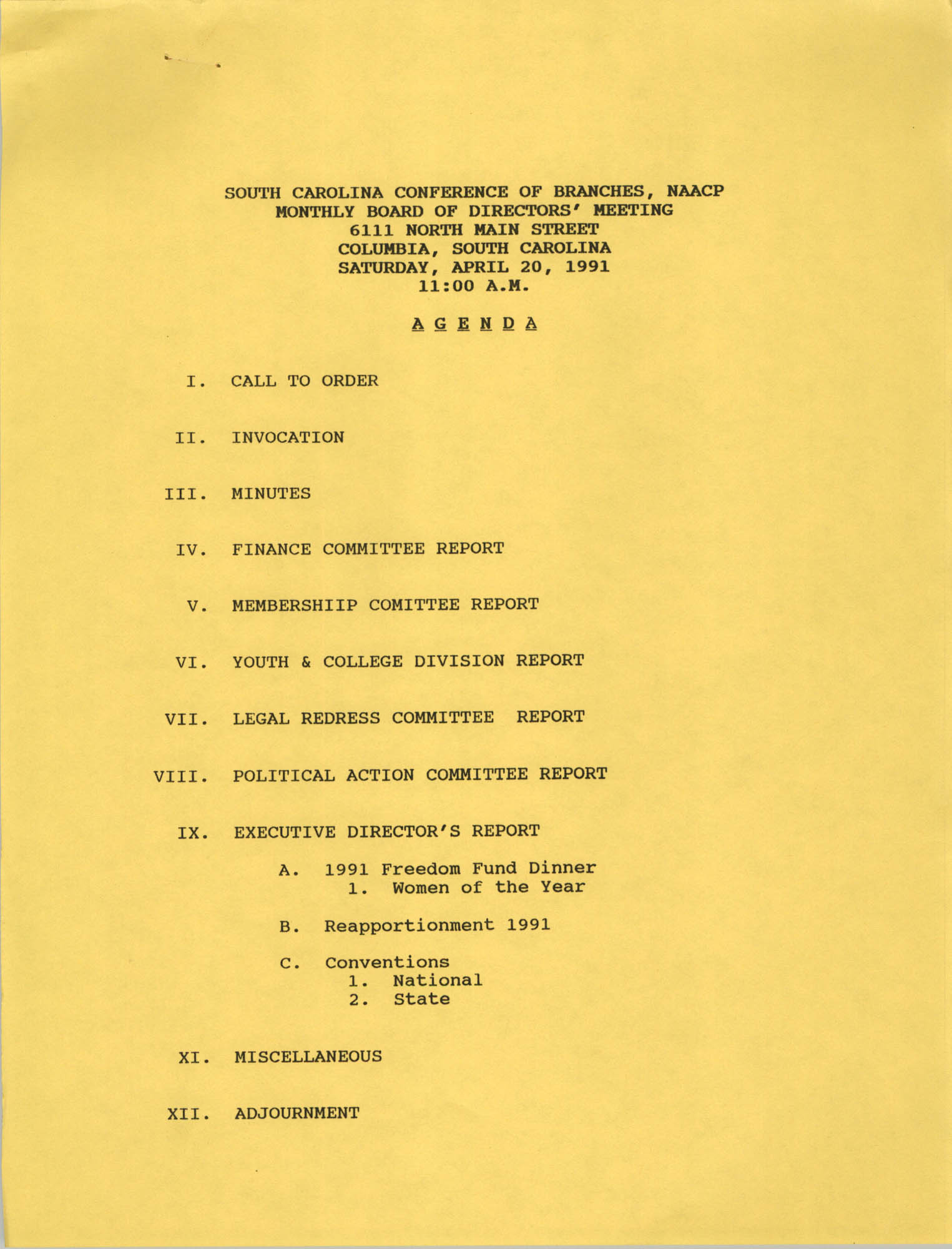 Agenda, South Carolina Conference of Branches of the NAACP, April 20, 1991