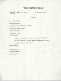 Agenda, Charleston Branch of the NAACP General Membership Meeting, March 21, 1991