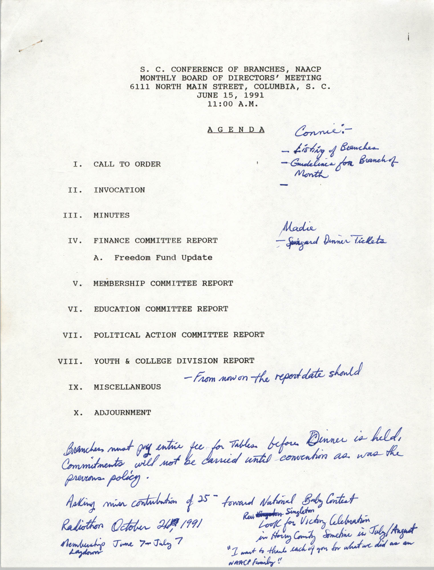 Agenda, South Carolina Conference of Branches of the NAACP, June 15, 1991