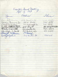 Sign-in Sheet, Charleston Branch of the NAACP, Executive Board Meeting, September 5, 1989