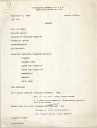 Agenda, Charleston Branch of the NAACP Branch Executive Board Meeting, September 5, 1989