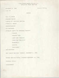 Agenda, Charleston Branch of the NAACP, Executive Board Meeting, November 8, 1989
