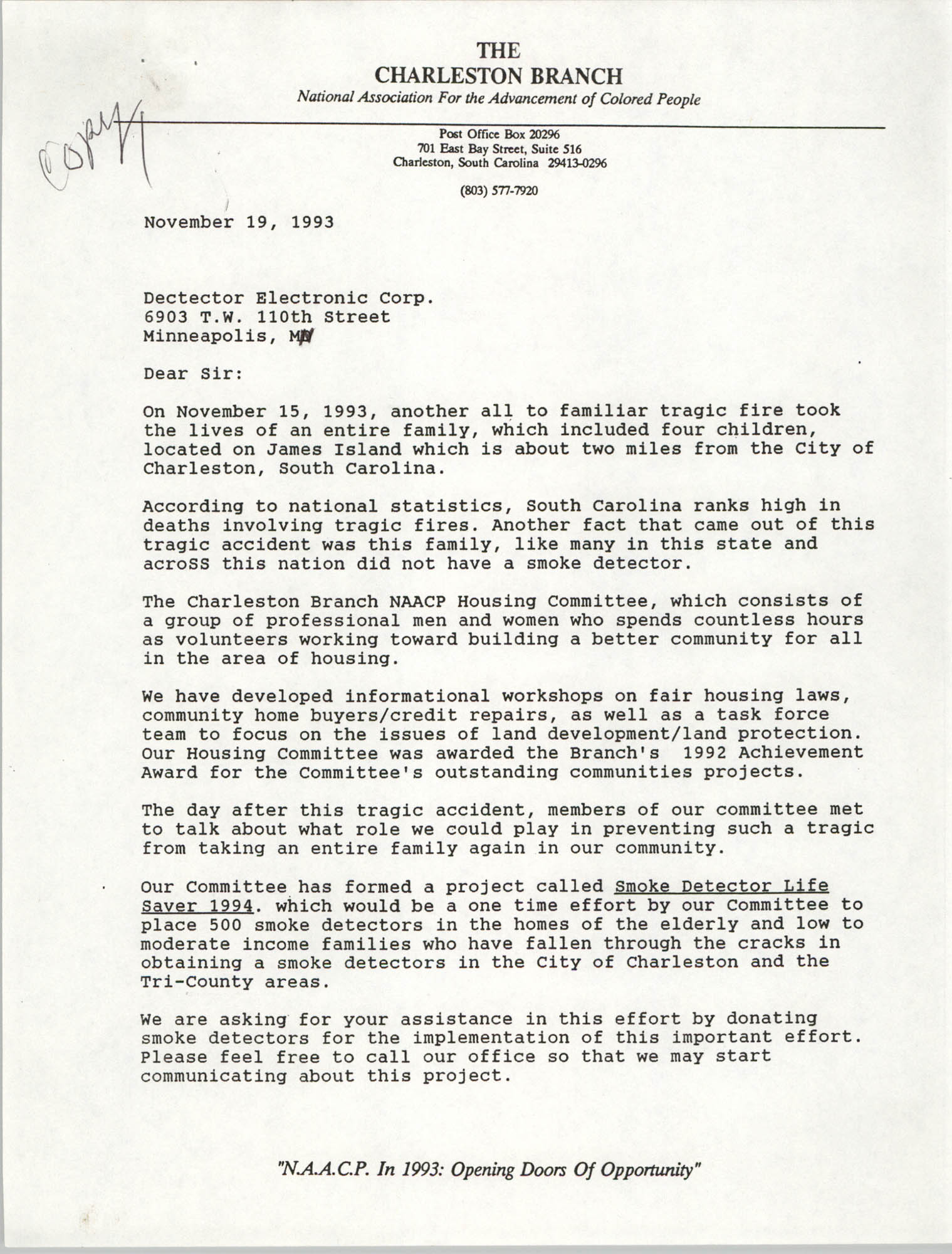 Letter from Rodney Williams to Detector Electronic Corp., November 19, 1993