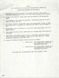 South Carolina Conference of Branches of the NAACP, Rules for the Branch of the Month