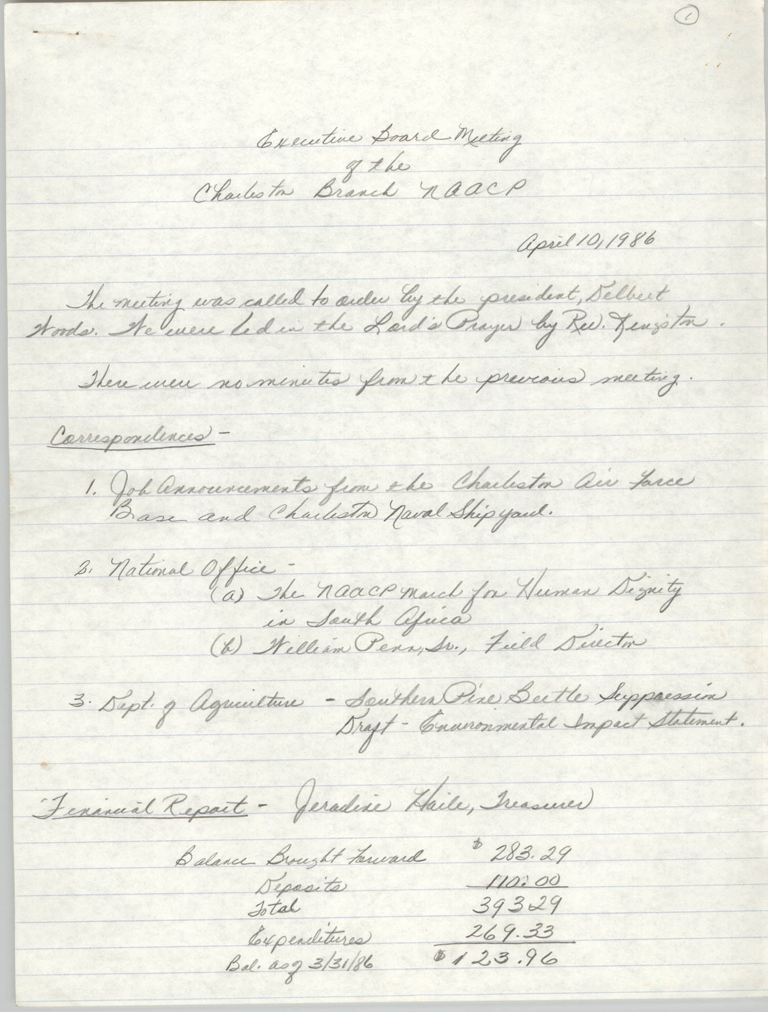 Minutes, Executive Board Meeting, Charleston Branch of the NAACP, April 10, 1986