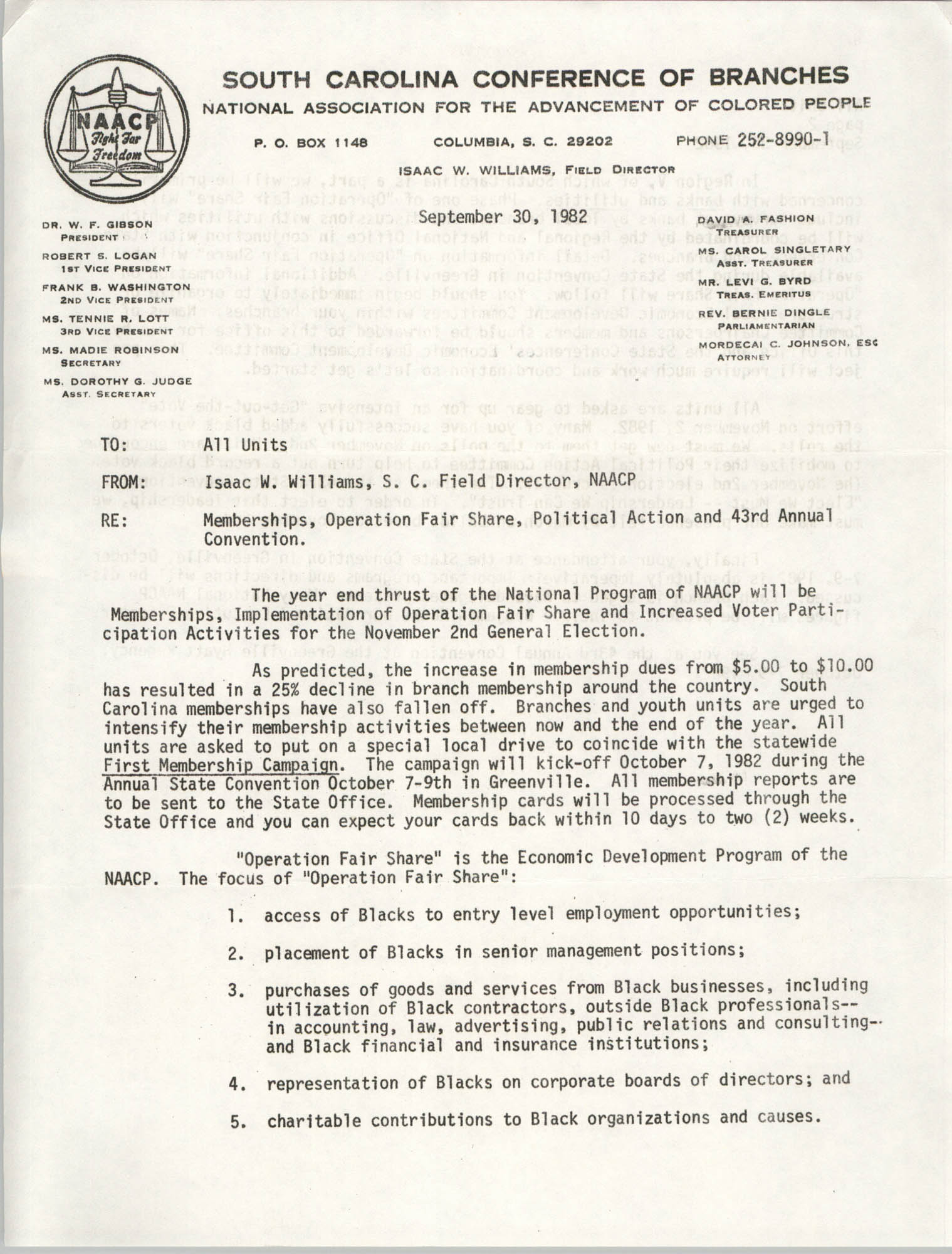 South Carolina Conference of Branches of the NAACP Memorandum, September 30, 1982