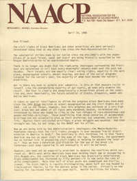 Letter from Benjamin L. Hooks to NAACP Friends, April 14, 1986