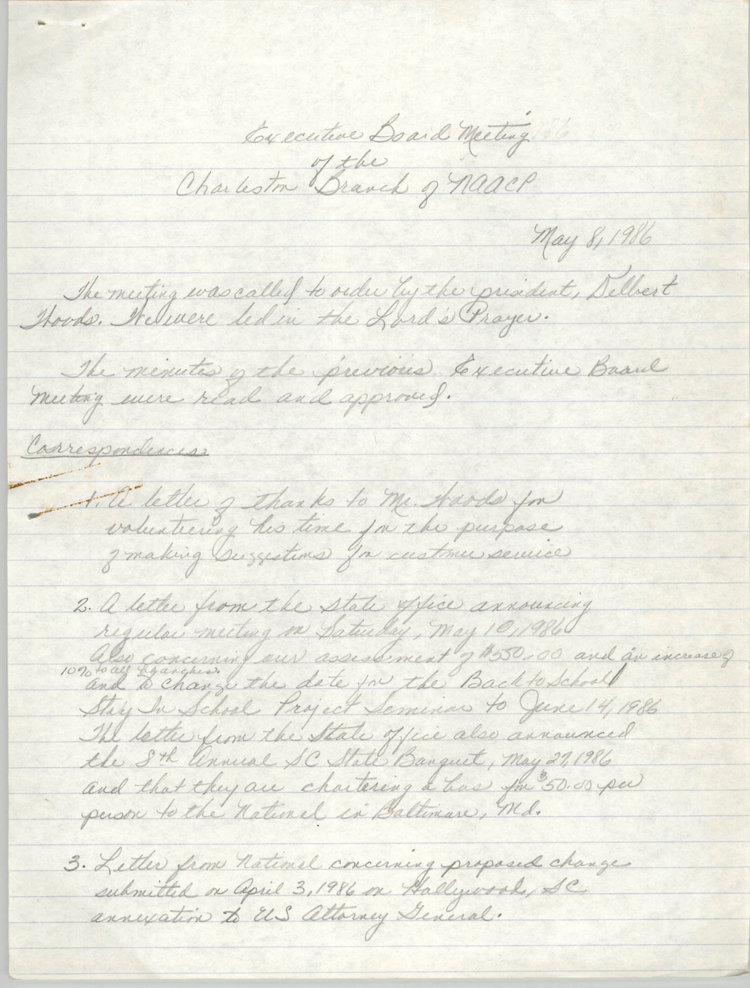 Minutes, Executive Board Meeting, Charleston Branch of the NAACP, May 8, 1986