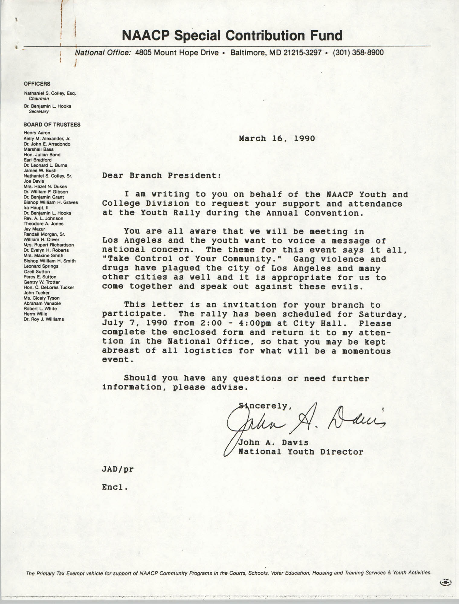 NAACP Special Contribution Fund, March 16, 1990