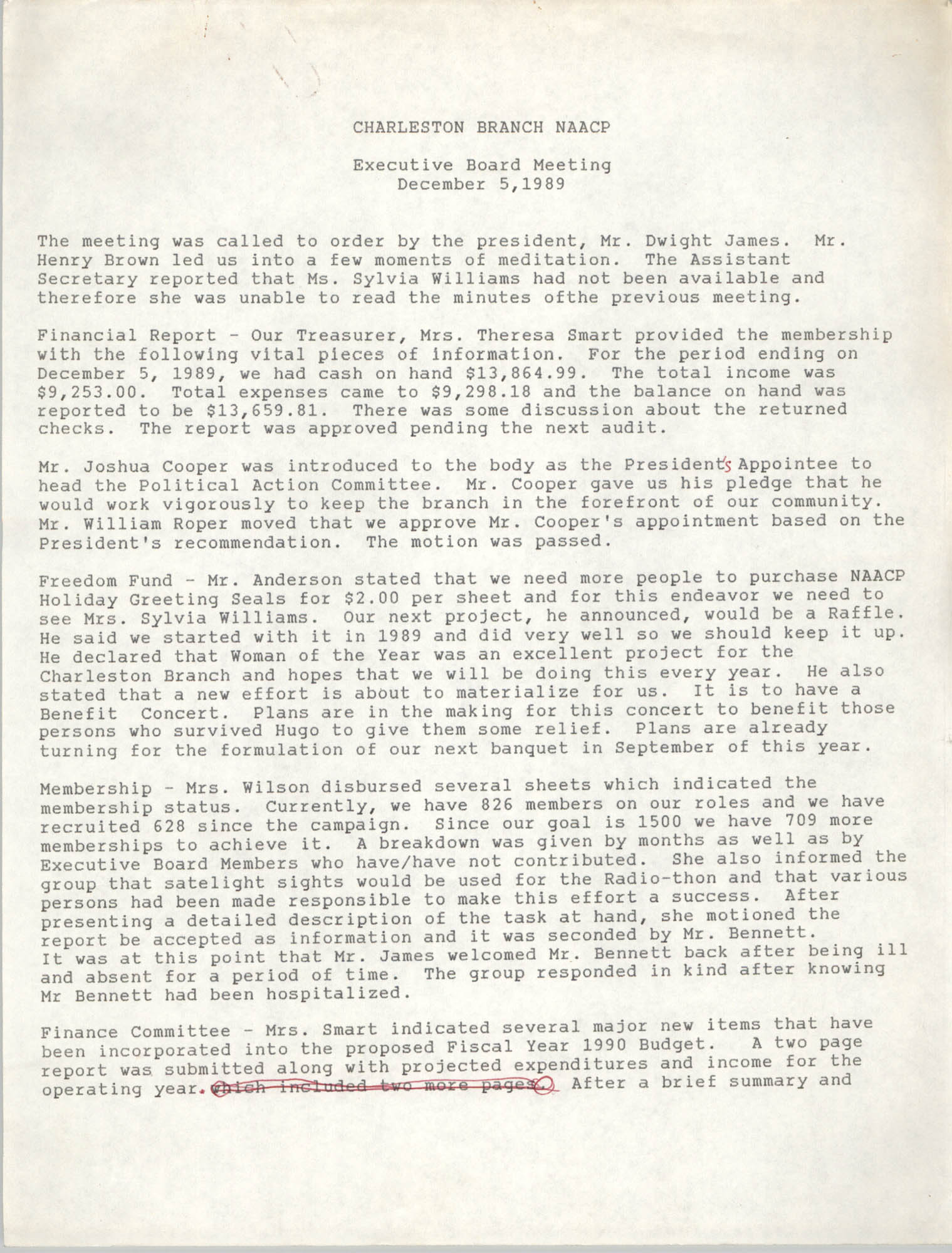 Minutes, Charleston Branch of the NAACP Executive Board Meeting, December 5, 1989