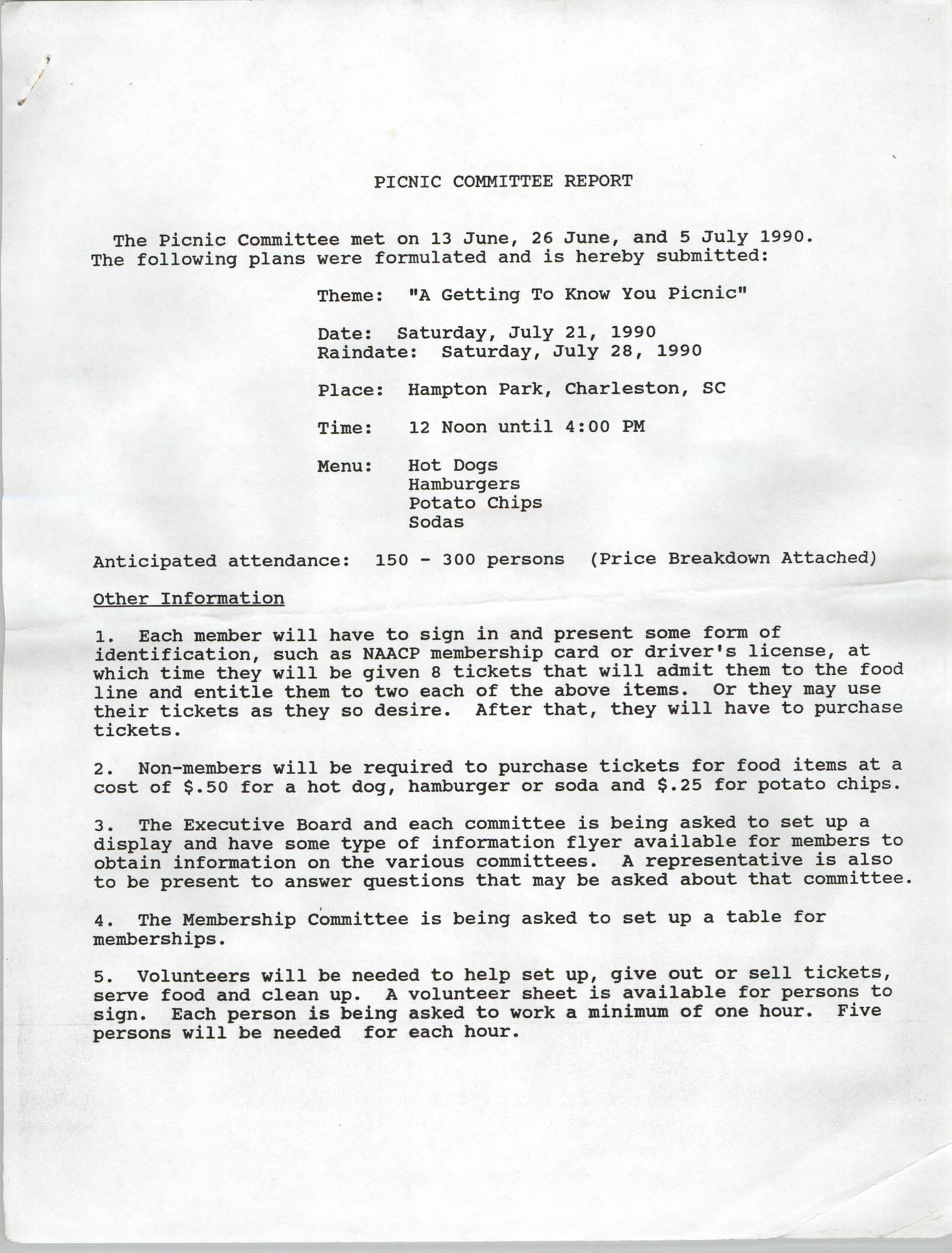 Picnic Committee Report, Charleston Chapter of the NAACP, June and July 1990