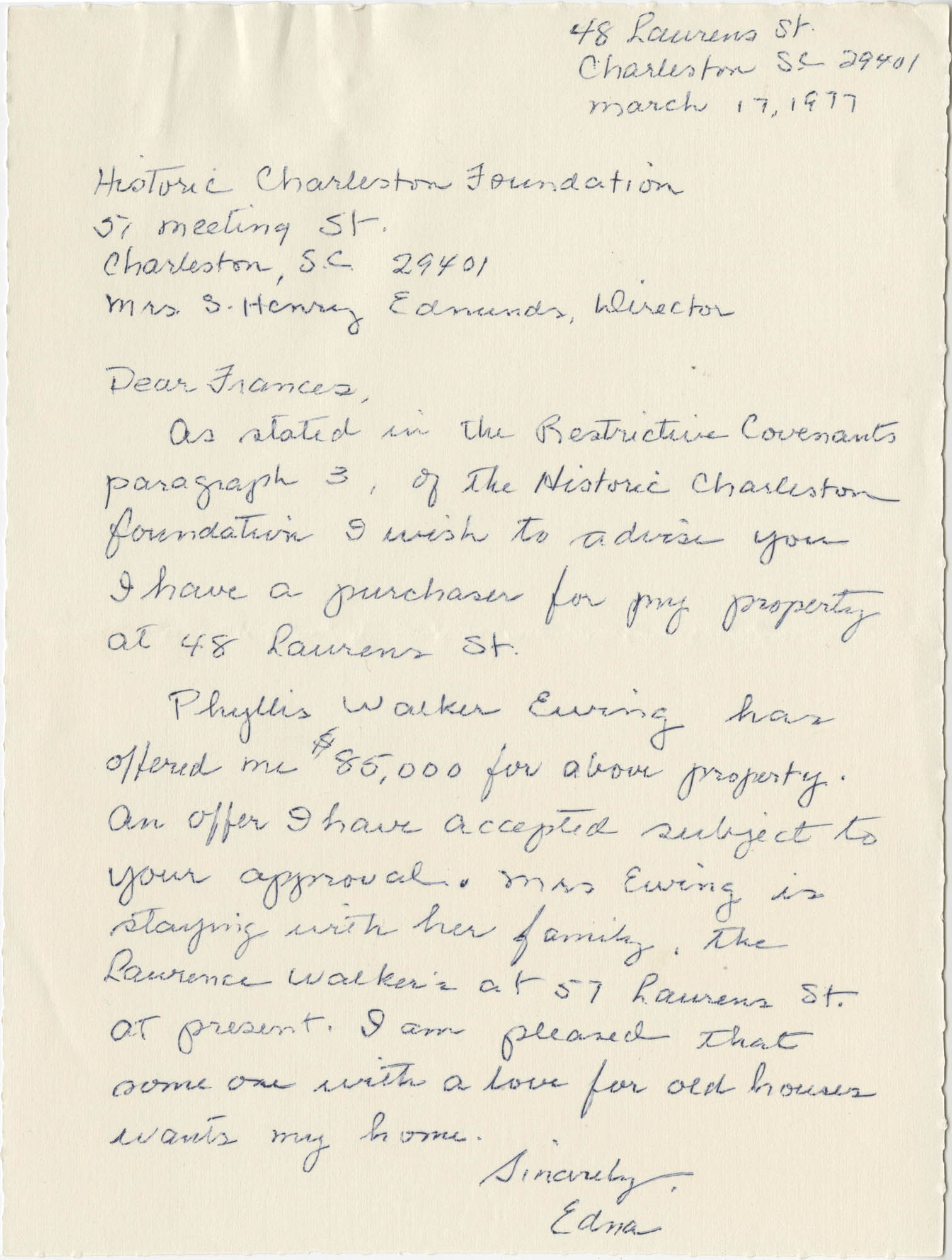 Letter from Edna (O'Hear) to Frances (Edmunds)