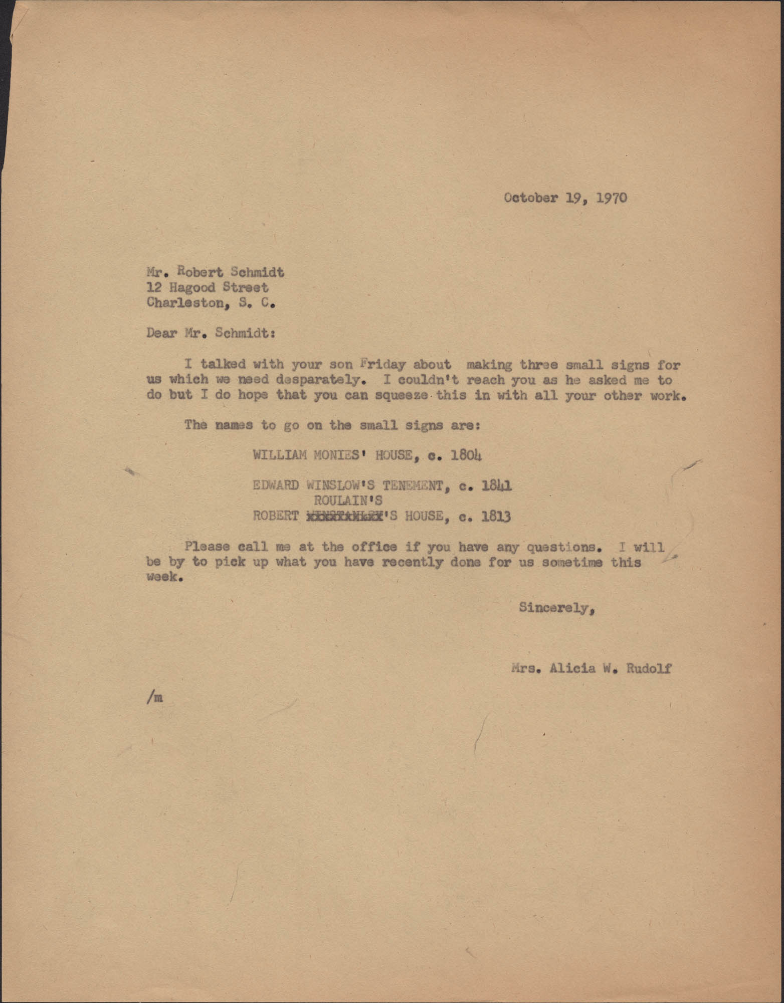 Letter from Alicia W. Rudolf to Robert Schmidt
