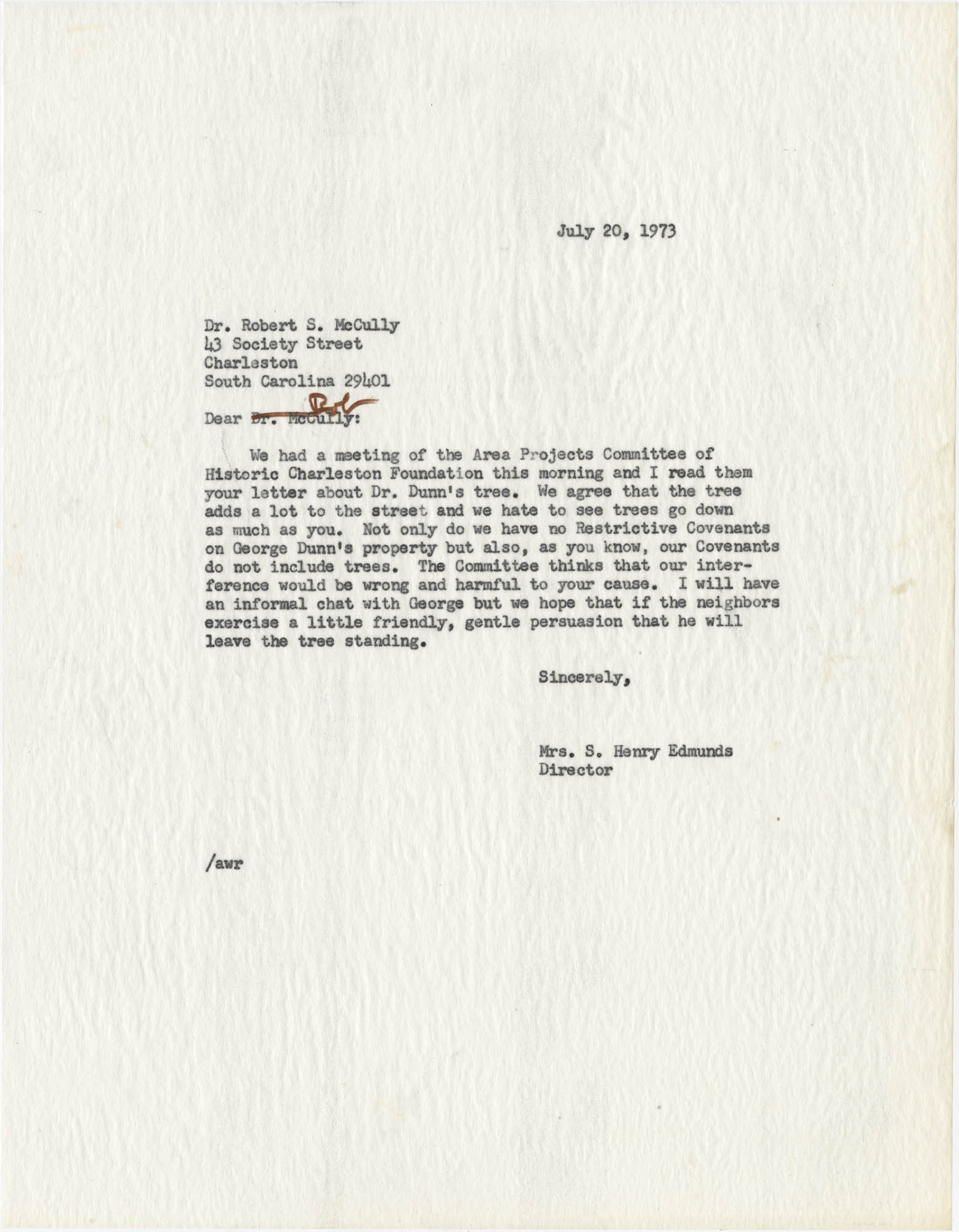 Letter from Mrs. S. Henry Edmunds to Dr. Robert S. McCully