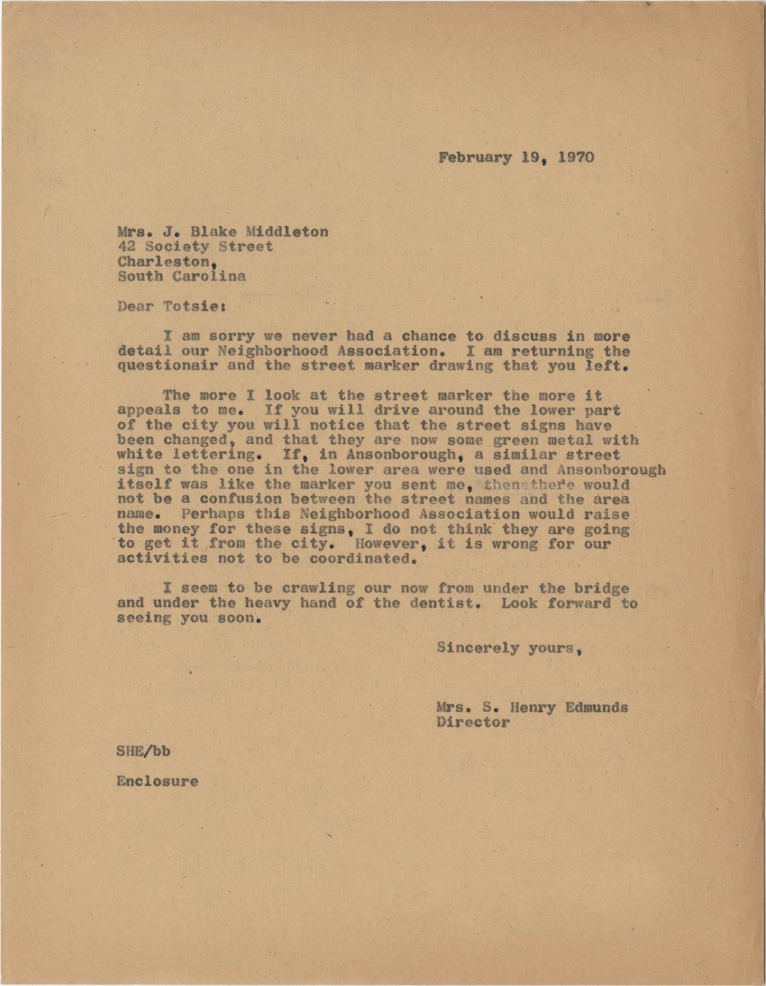 Letter from Mrs. S. Henry Edmunds to Mrs. J. Blake Middleton