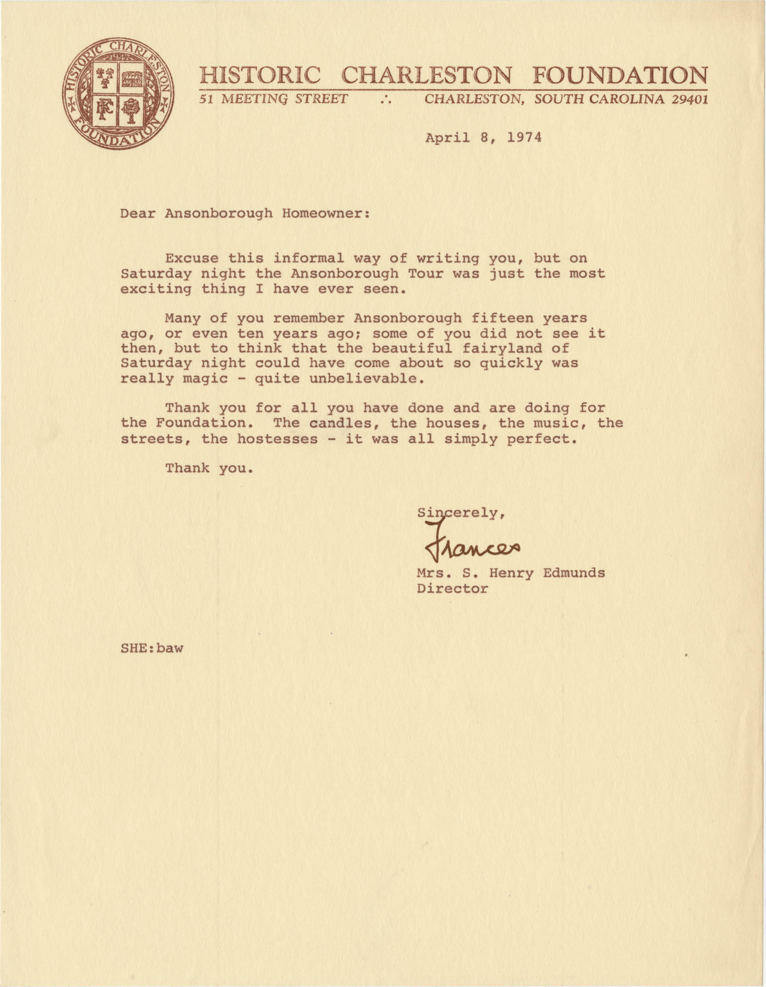 Letter from Mrs. S. Henry Edmunds to Ansonborough homeowners
