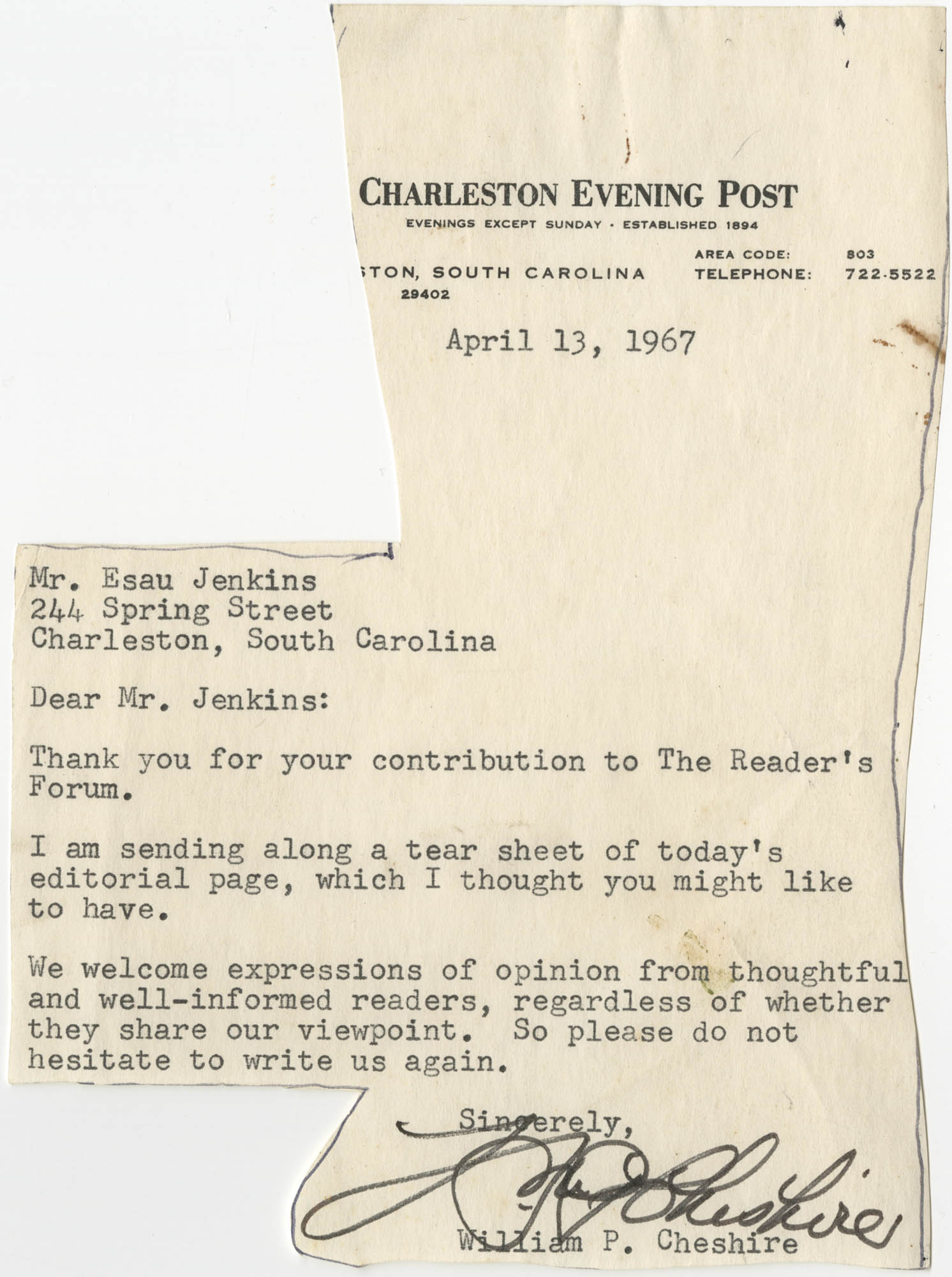 Letter from William P. Cheshire to Esau Jenkins, April 13, 1967
