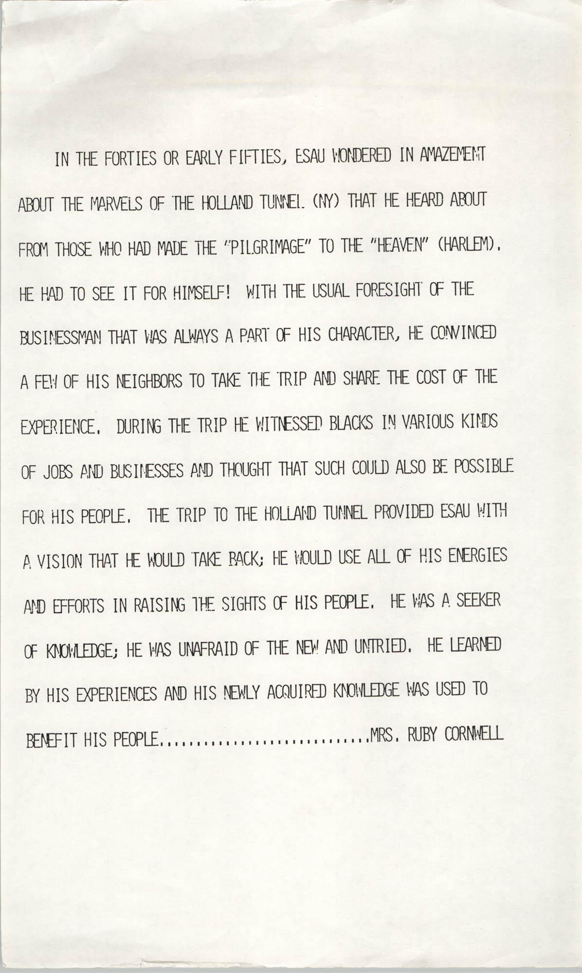 Esau Jenkins Tribute, Ruby Cornwell