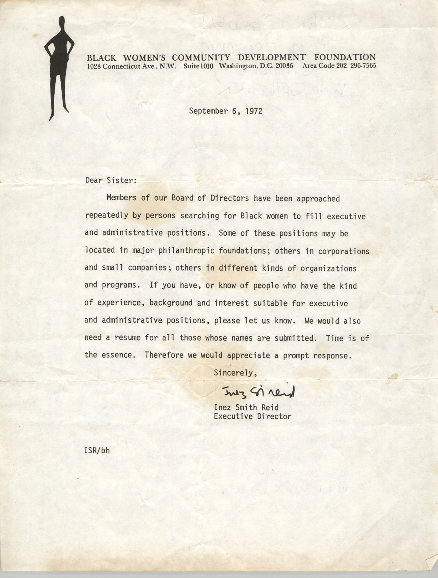 Letter from Inez Smith Reid to Black Women's Community Development Foundation Members, September 6, 1972