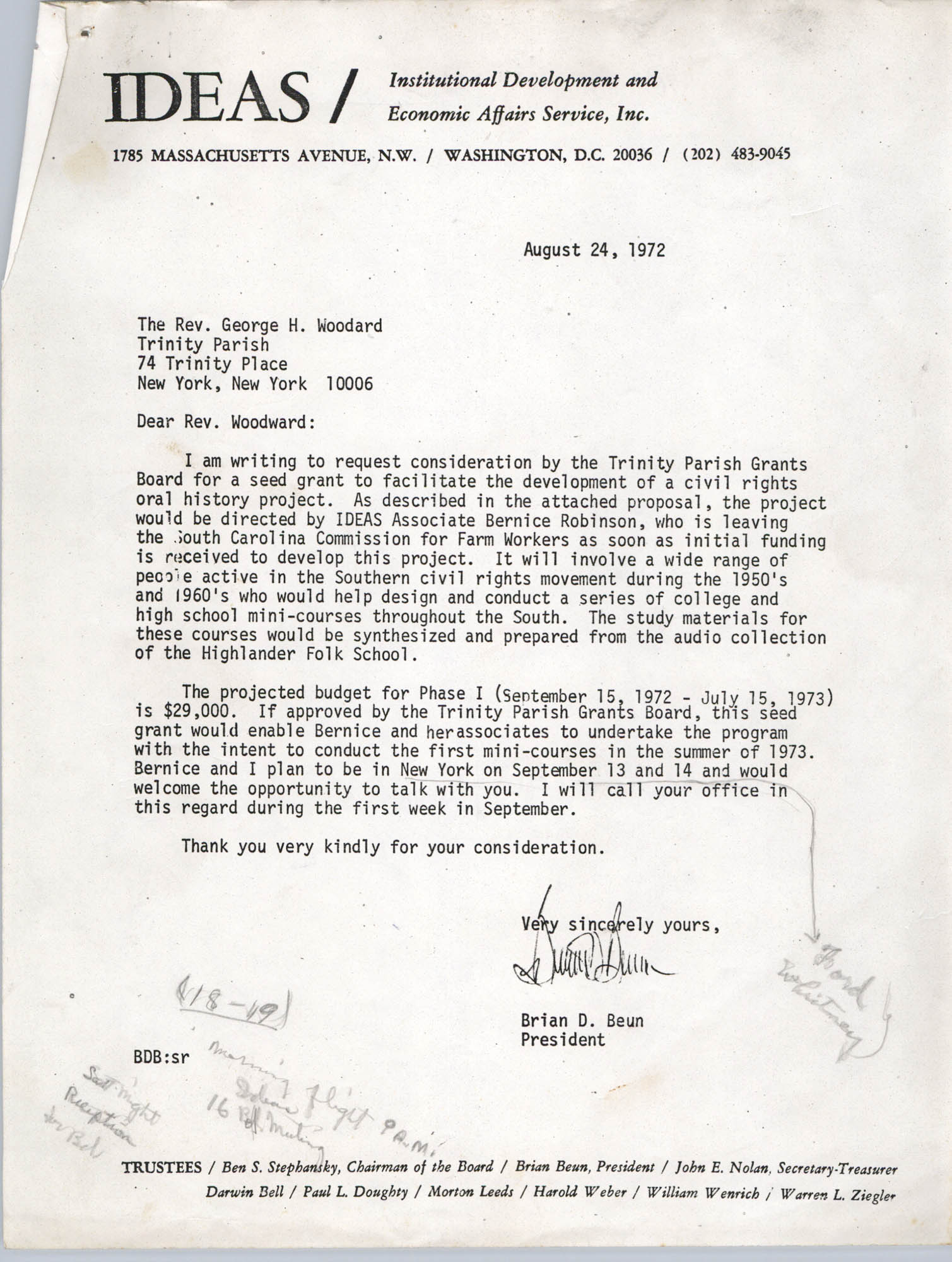 Letter from Brian Beun to George H. Woodard, August 24, 1972