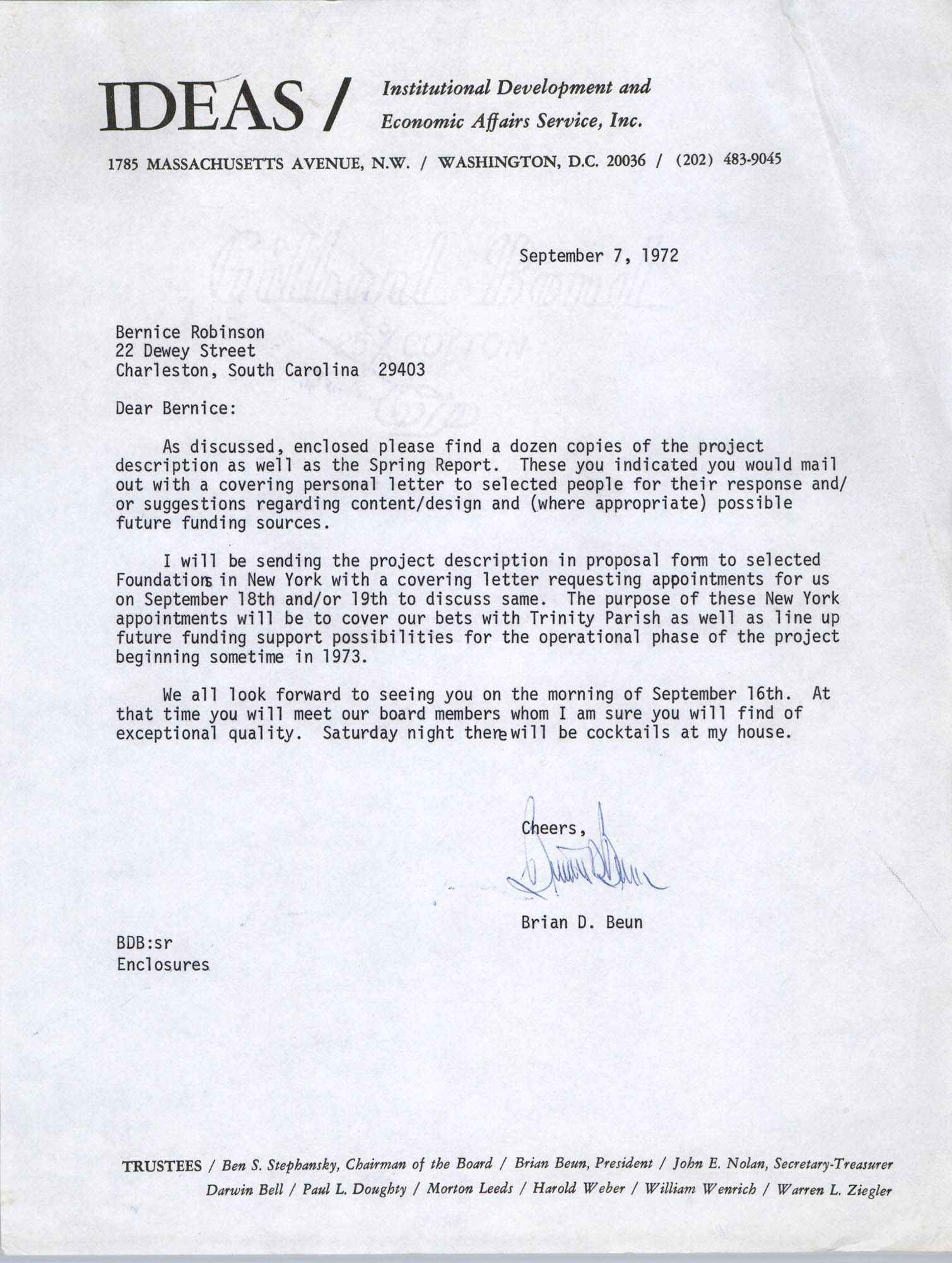 Letter from Brian Beun to Bernice Robinson, September 7, 1972