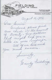 Letter from Emily Fielding to Bernice Robinson, August 16, 1972