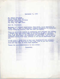 Letter from Bernice Robinson to Wesley Hotchkiss, September 11, 1972